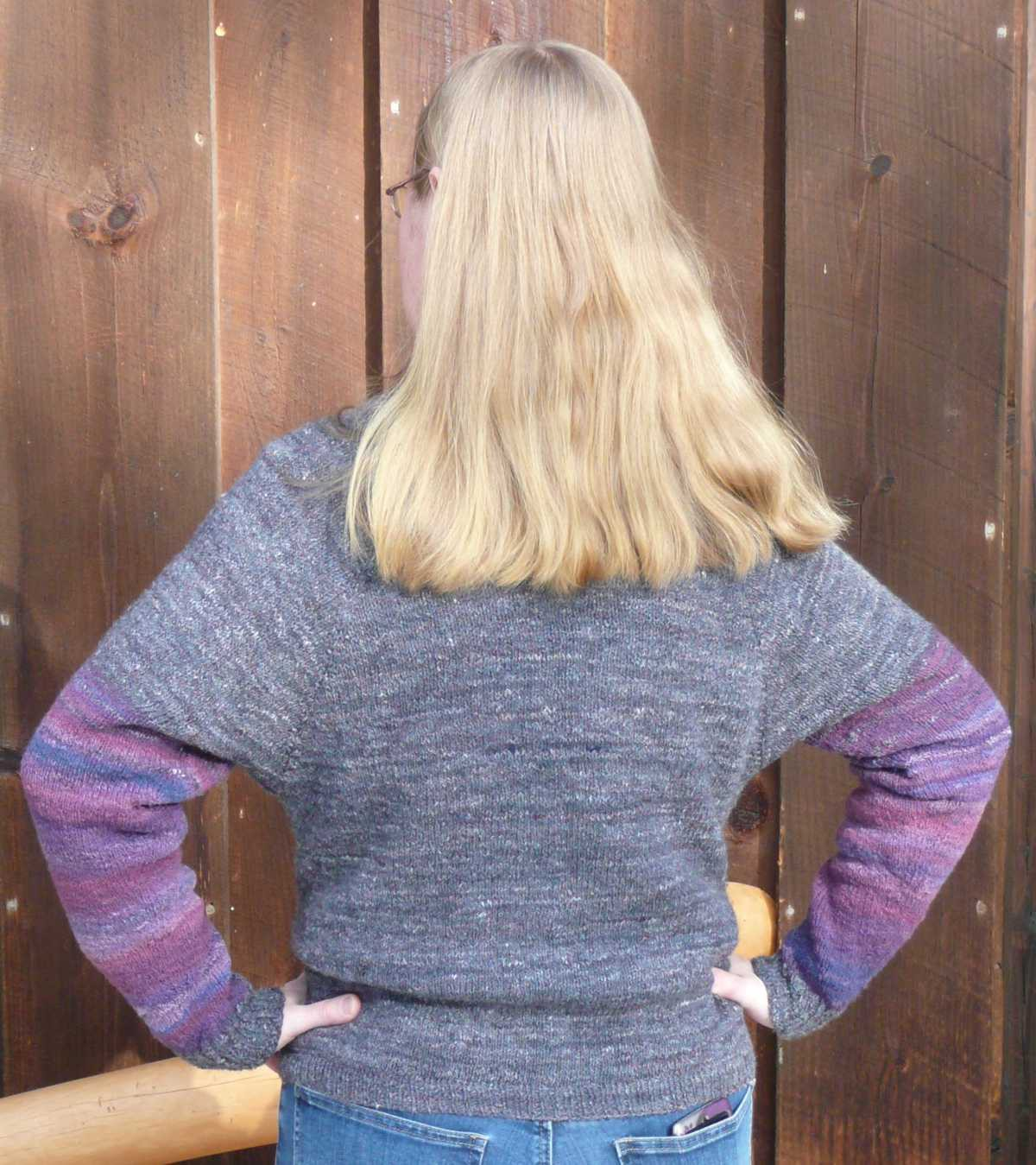 Sweater hand knit from yarn hand spun and plied on drop spindles all made by Cynthia D. Haney.