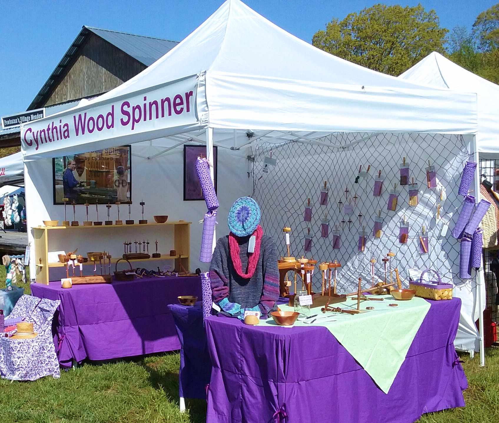 Cynthia's Cynthia Wood Spinner booth at Powhatan's Festival of Fiber 2018