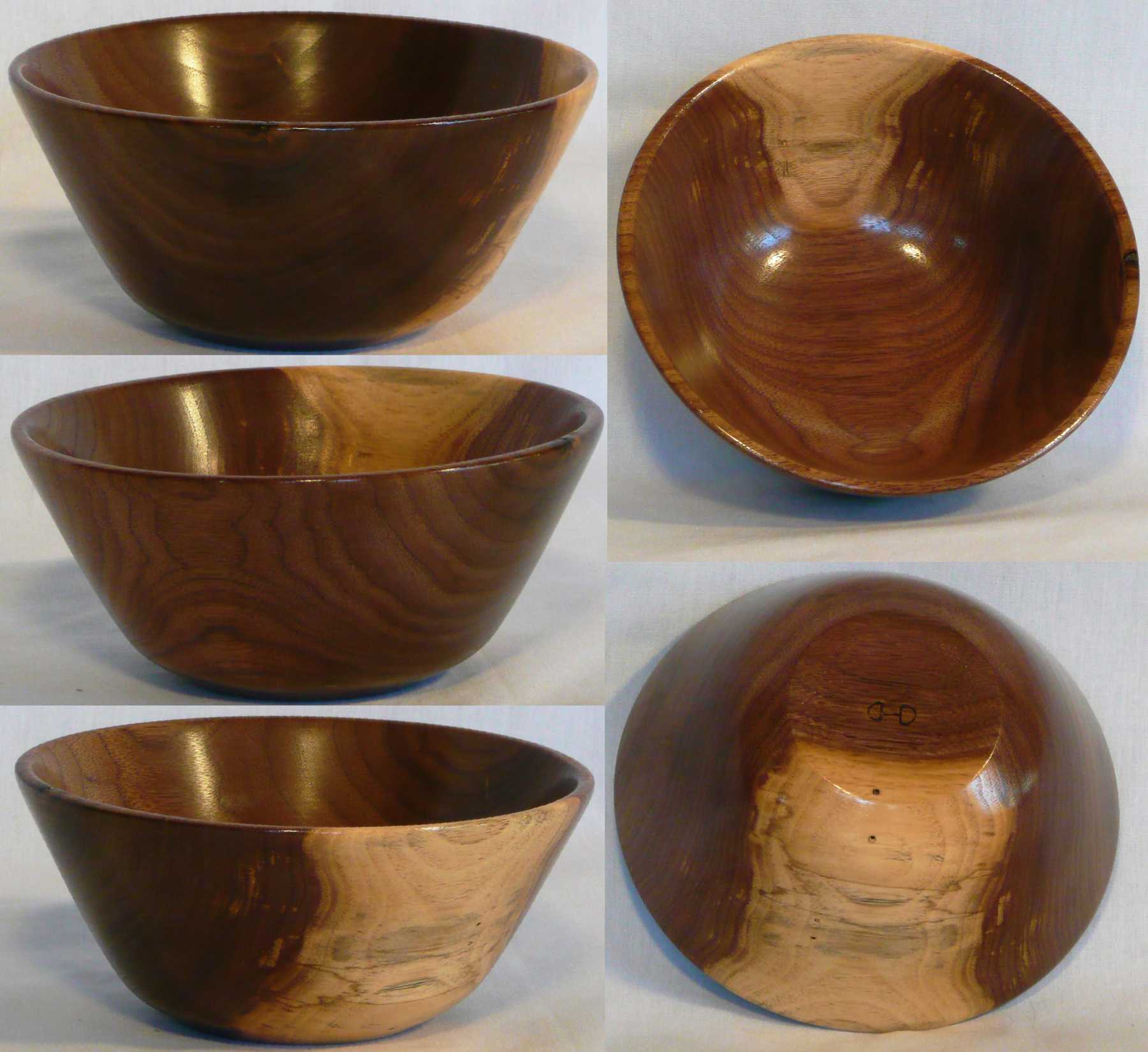 Walnut hand turned bowl with highlight of sapwood on the side by Cynthia D. Haney.
