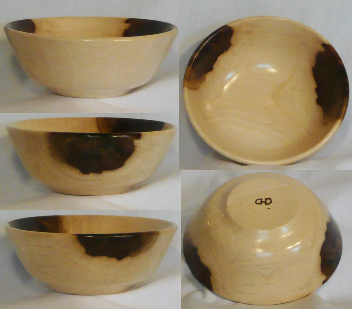 Hand turned wooden bowl of Tulip Poplar wood by Cynthia D. Haney