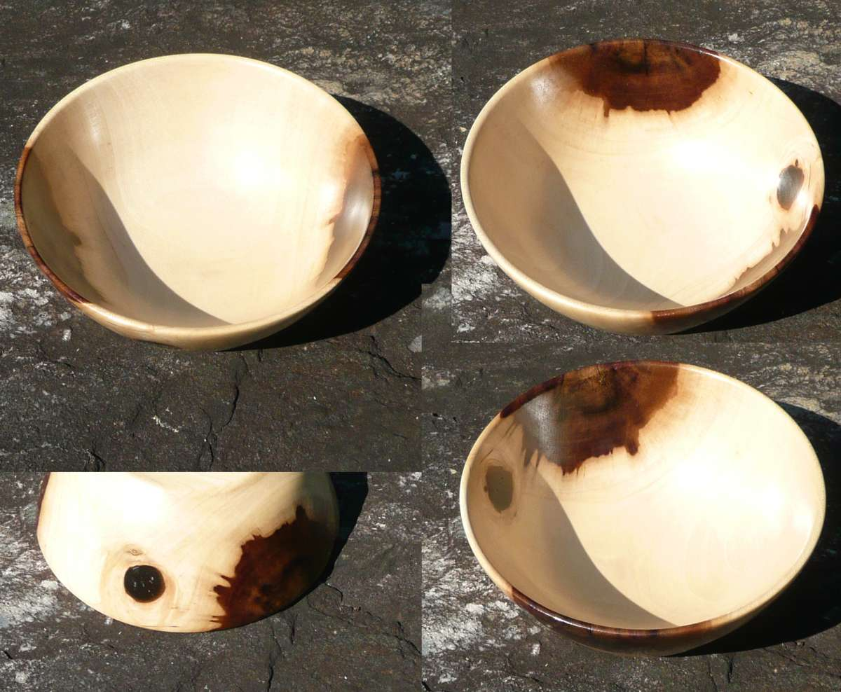 Hand turned bowl from Tulip Poplar wood by Cynthia D. Haney. For Sale
