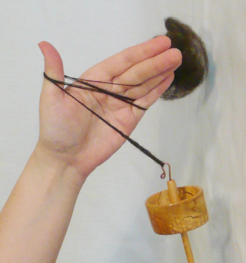 Yarn butterflied on fiber hand to reach the spindle while spinning yarn, technique used for orderly wind on.