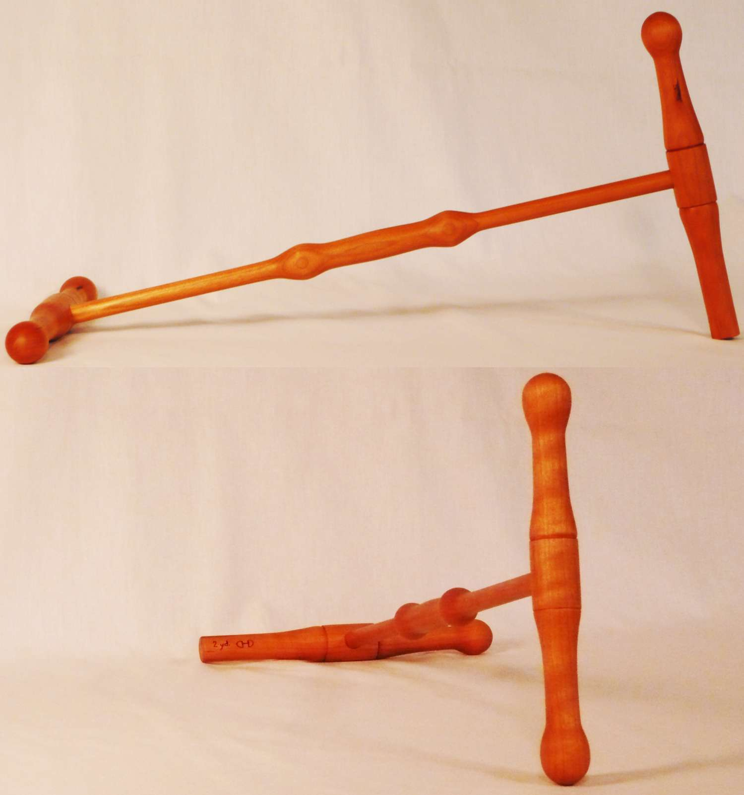 Niddy-Noddy hand made from Cherry wood by Cynthia D. Haney.  Tool for making 2 yd. skeins, hanks, of yarn.  72 inches
