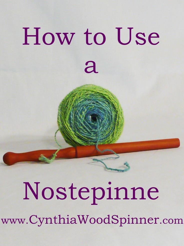 Nostepinne, hand turned by Cynthia D. Haney, and the center feed ball of yarn it wound.  How to use a Nostepinne winding a center pull yarn cake.