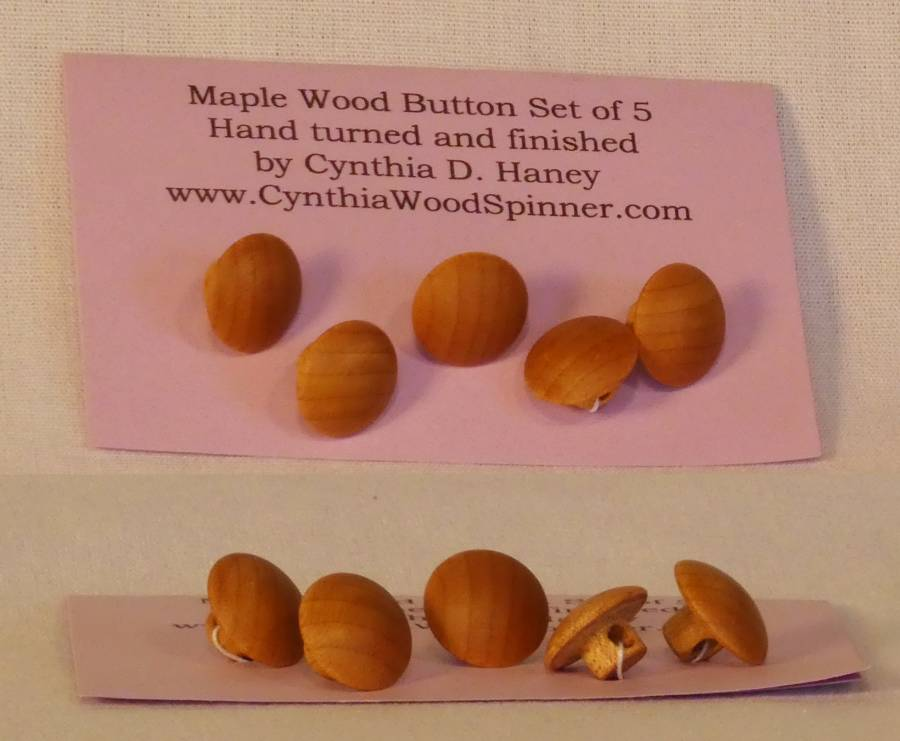 Handcrafted Maple wood button set of five with one hole, made by Cynthia D. Haney.
