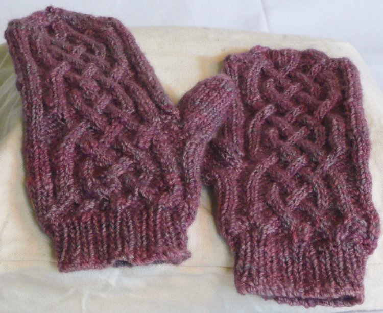 Celtic knot mittens        from hand spun and dyed yarn