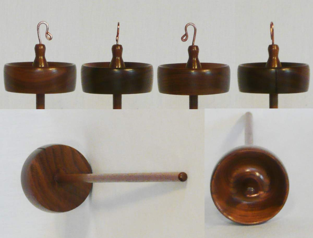 Drop spindle, top or high whorl, turned from Walnut wood by Cynthia D. Haney 3/4 oz. for spinning yarn
