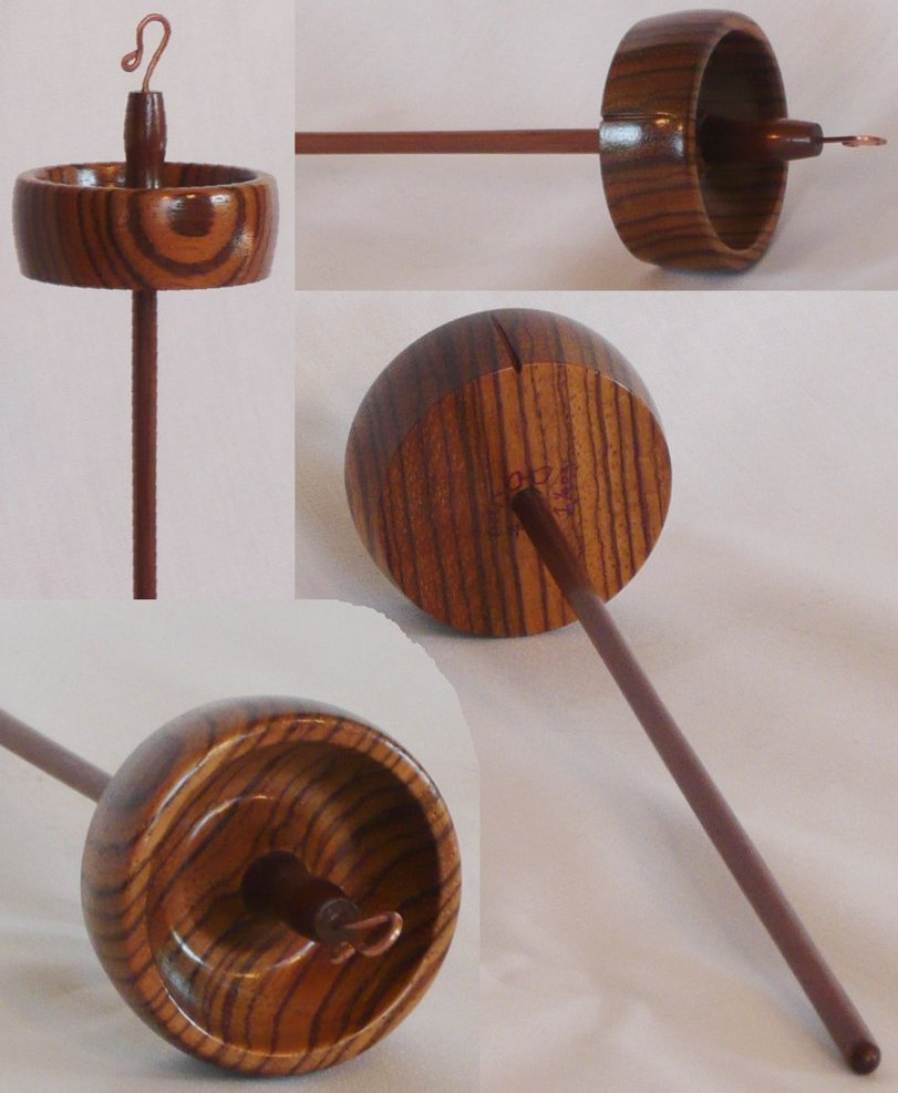 zebra wood and walnut spindle hand turned by Cynthia Haney