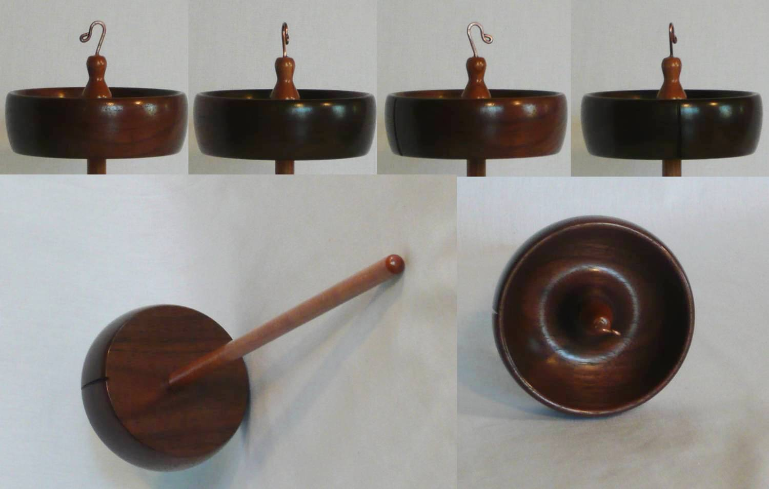 Walnut and Cherry high whorl drop spindle for spinning yarn from wool.  Handturned by Cynthia D. Haney weight 2 oz.