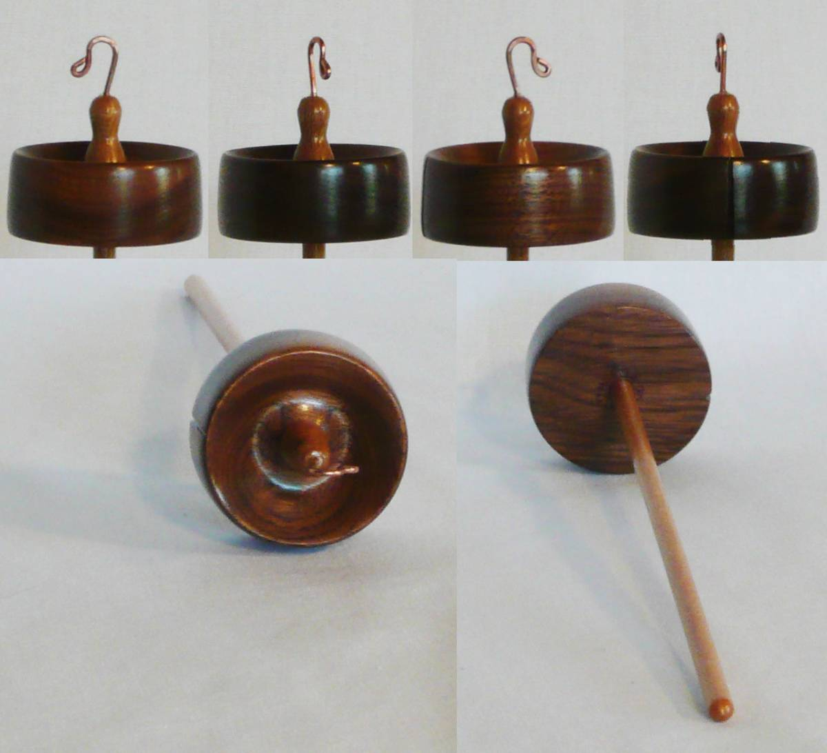 High whorl drop spindle of walnut and sycamore woods.  Hand turned by Cynthia D. Haney signed and numbered 129, weighing 3/4 oz.