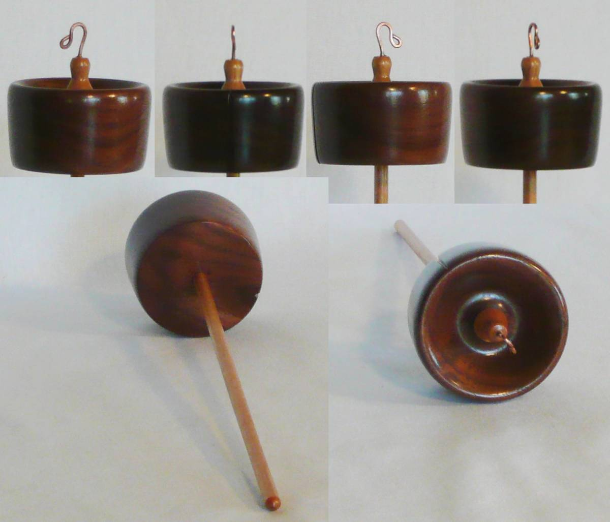 Walnut and cherry the 130th drop spindle hand turned and signed by Cynthia D. Haney.  2 oz.
