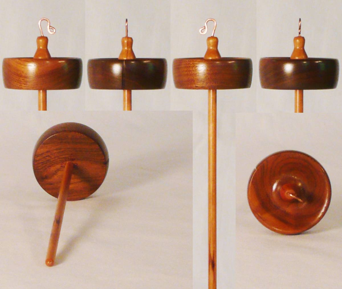 Walnut and cherry high whorl drop spindle hand turned by Cynthia D. Haney number 132.  1 oz.