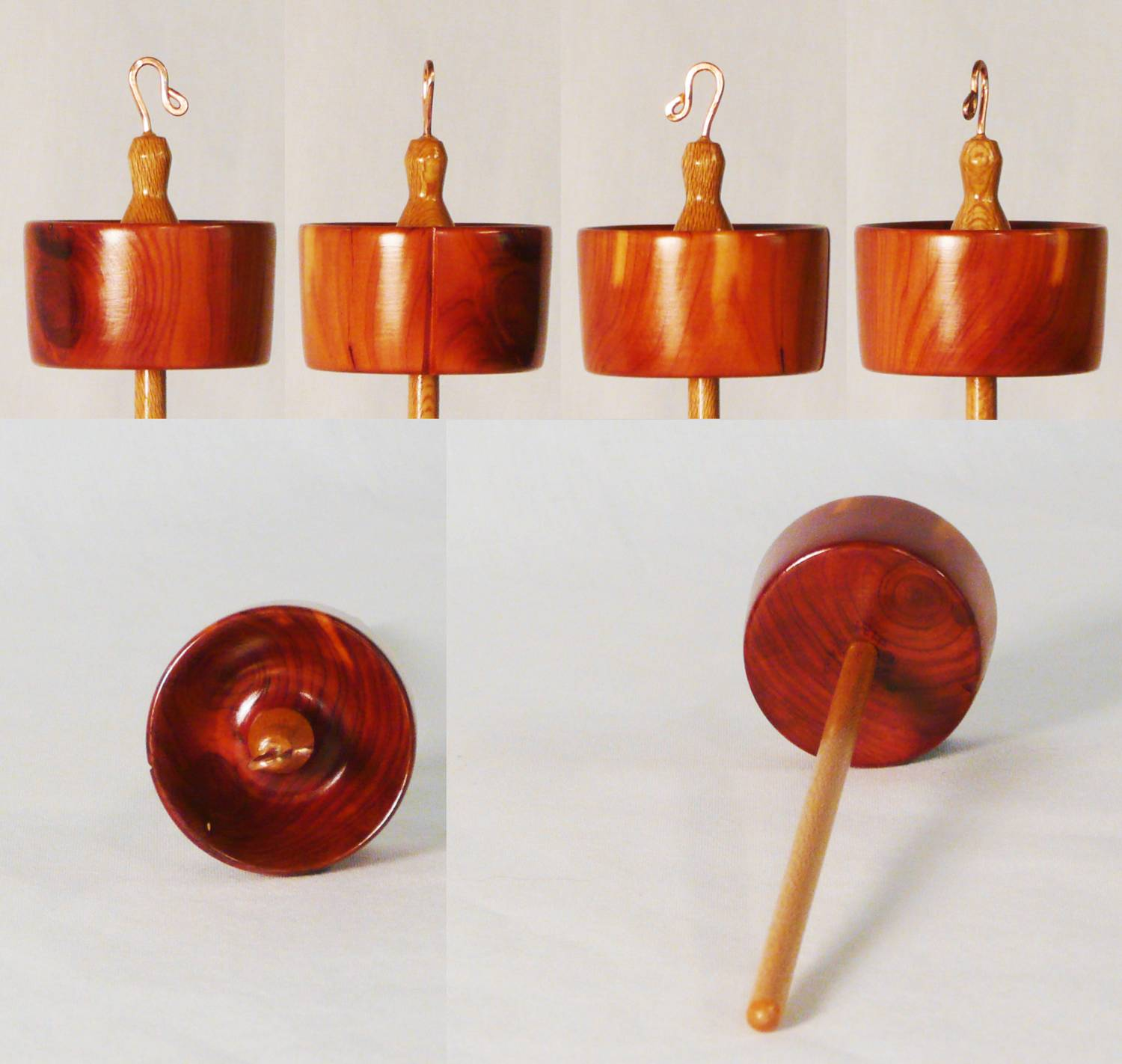 Drop spindle in Cedar and Sycamore hand turned by Cynthia D. Haney # 134 3/4 oz.