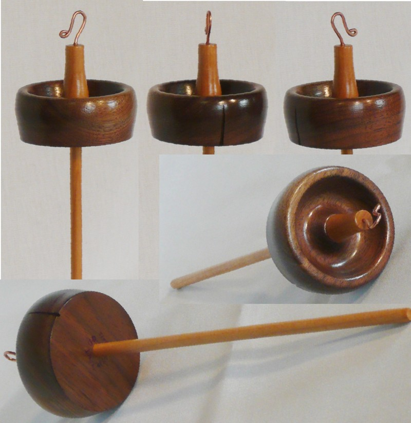 Walnut rim weighted whorl on maple shaft drop spindle. by Cynthia Haney