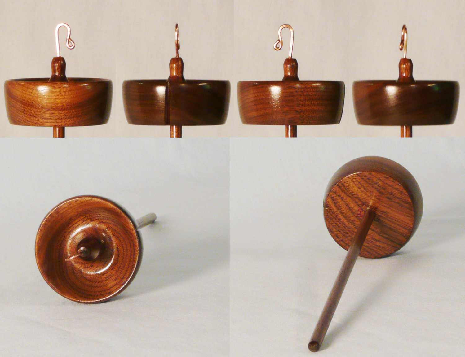 Tool for making yarn in walnut a high whorl drop spindle hand turned by Cynthia D. Haney.  Signed number 140 weighing 1 oz.