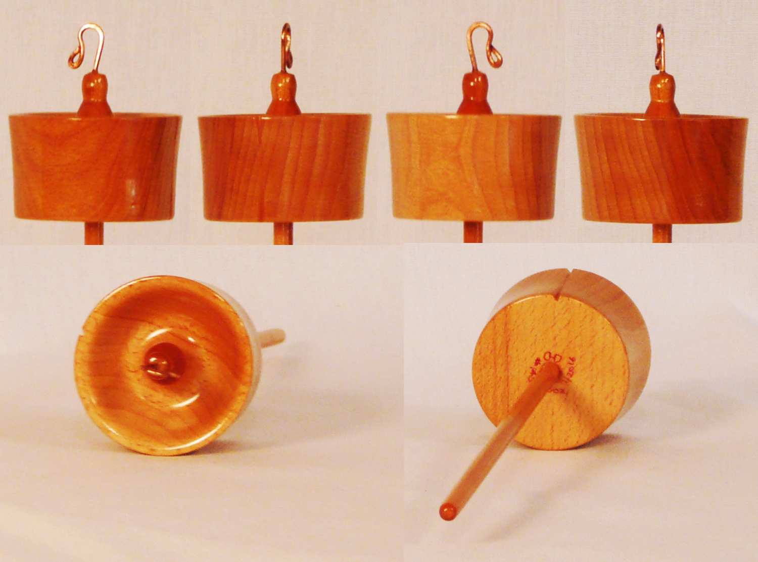 Top whorl drop spindle hand turned from Beech on a Cherry shaft 1.5 oz. by Cynthia D. Haney signed number 145