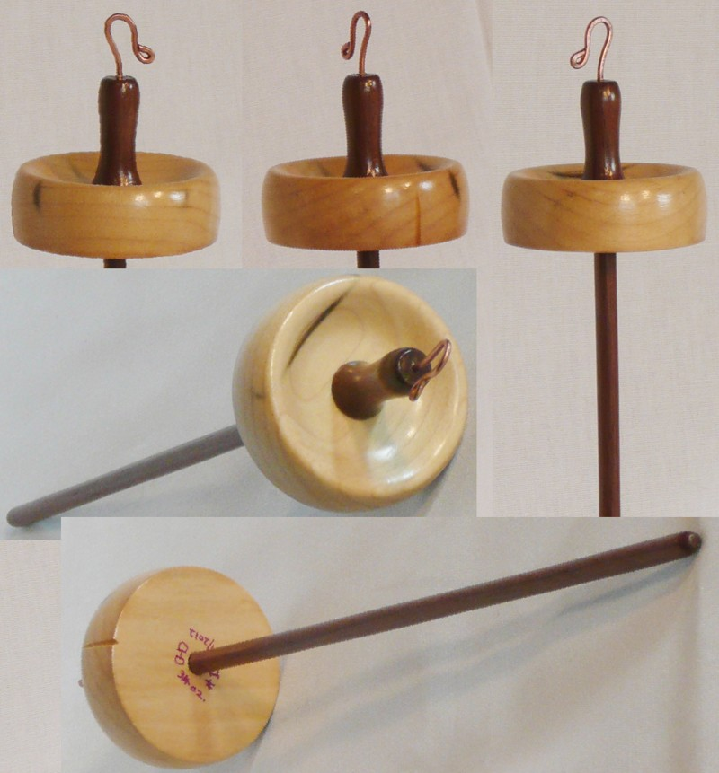 Tulip poplar whorl on walnut shaft top whorl drop spindle by Cynthia Haney