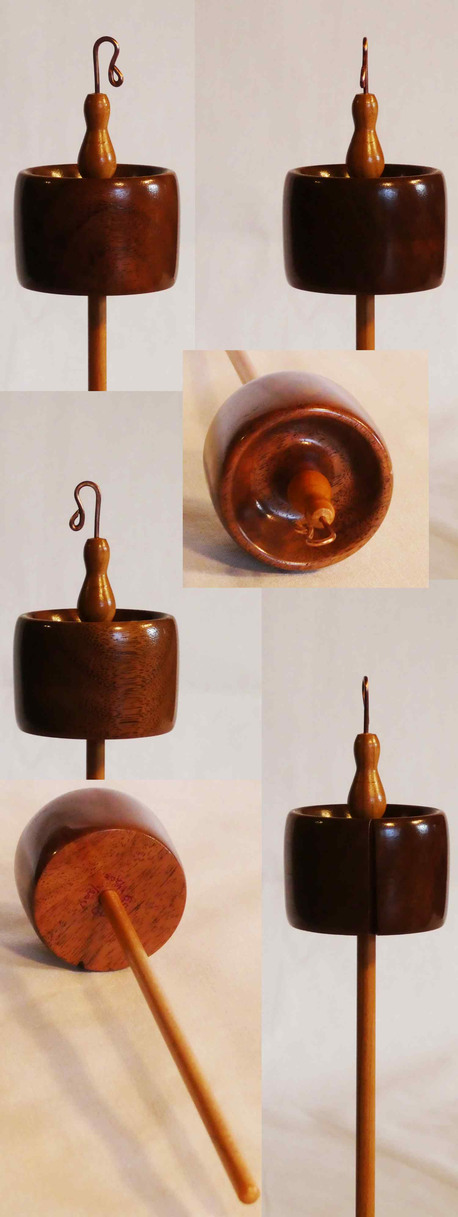 Top whorl drop spindle handcrafted by Cynthia D. Haney from Walnut and Cherry signed number 159 weighing 1.5 oz.