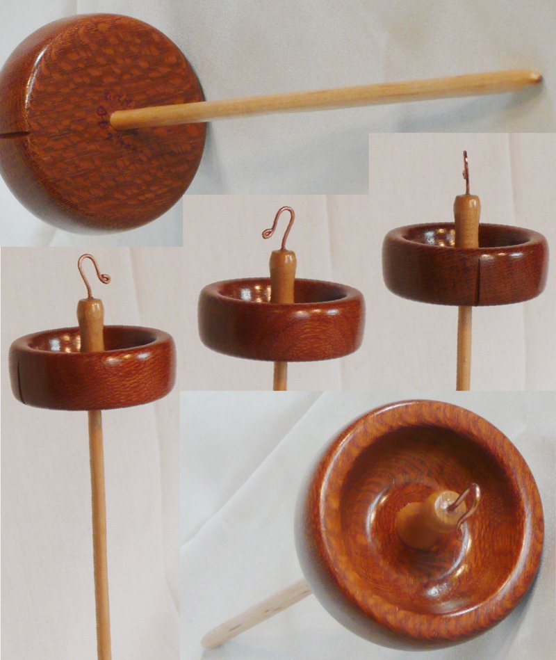 Lacewood whorl maple shaft rim weighed top whorl drop spindle. Hand turned by Cynthia Haney.