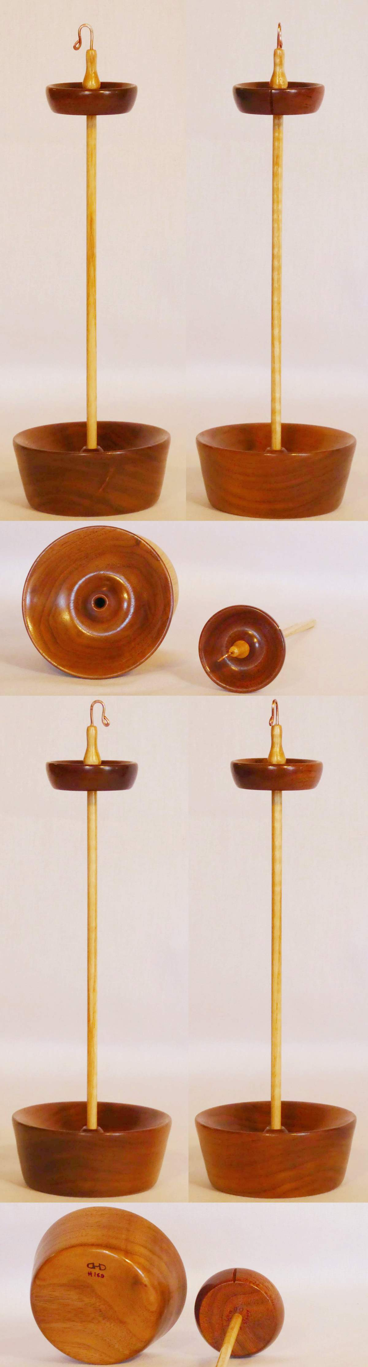 Handcrafted, handturned, and handmade Drop spindle and display stand set used to spin yarn, DIY, created by Cynthia D. Haney in Walnut and Ash woods