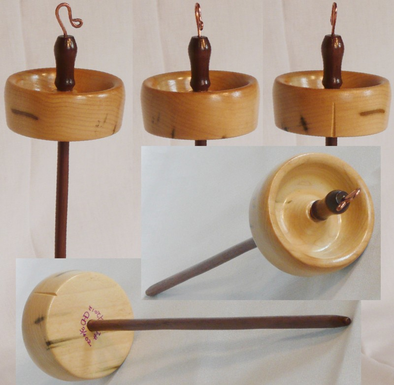 Tulip poplar on walnut shaft hand turned drop spindle by Cynthia Haney.