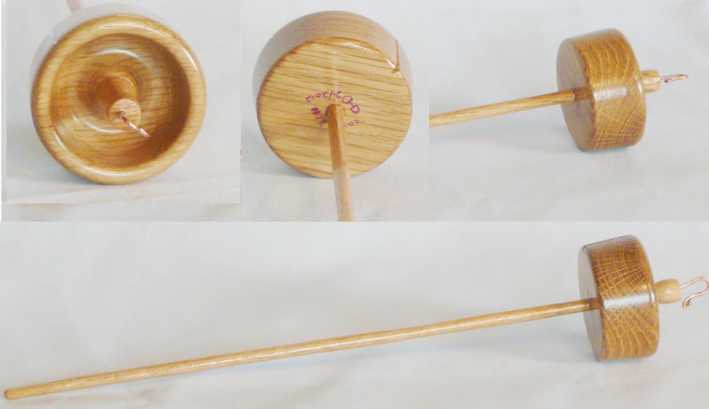 Oak on oak custom top whorl drop spindle by Cynthia Haney.