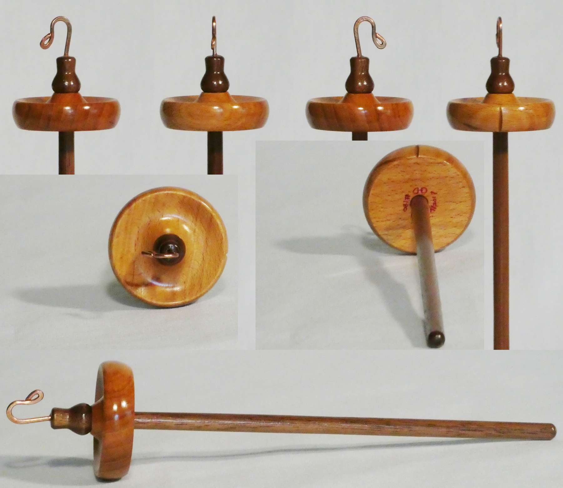 Handmade top whorl drop spindle for handspinning lace yarn from Beech and Walnut by Cynthia D. Haney spindle maker, signed number 180.