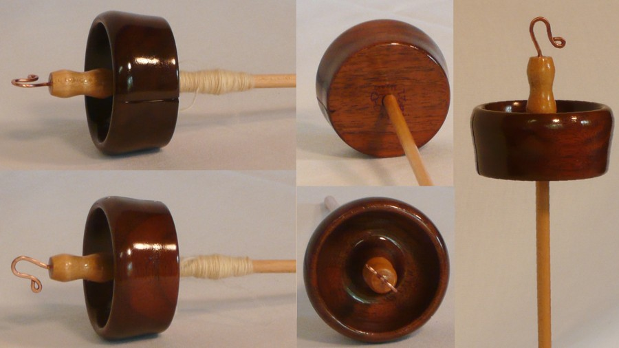 walnut whorl on maple shaft top whorl drop spindle by Cynthia Haney