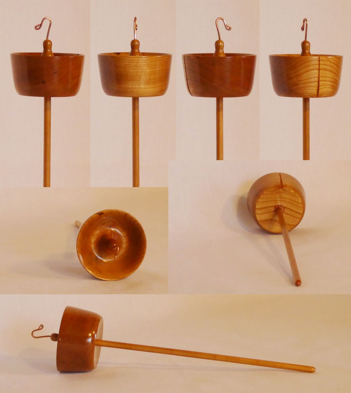 High whorl suspended spindle handmade from Cherry wood by Cynthia D. Haney signed number 223 with a 10.5 inch shaft weighing 1.6 oz. 45g