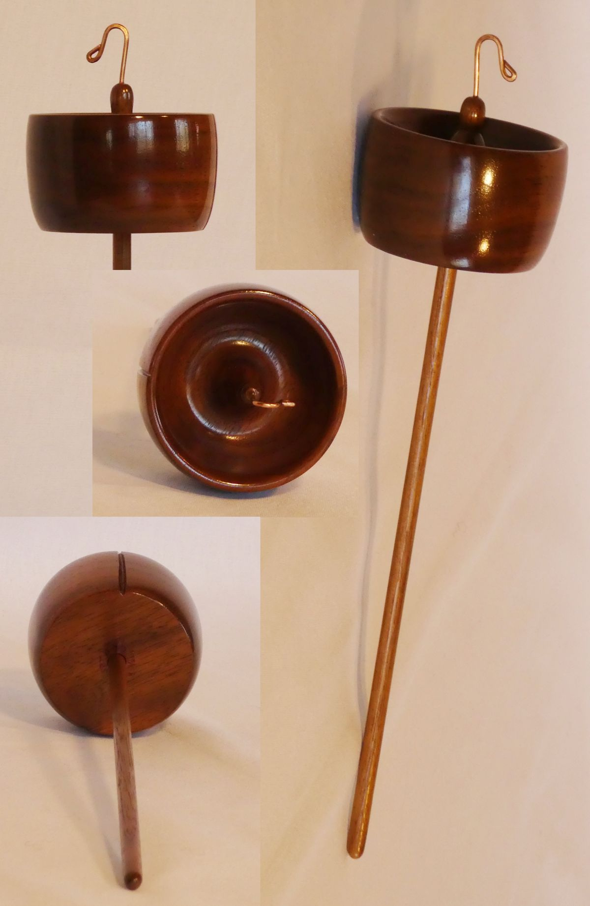 Top whorl drop spindle handmade by Cynthia D. Haney in her Virginia workshop from Walnut signed number 225.