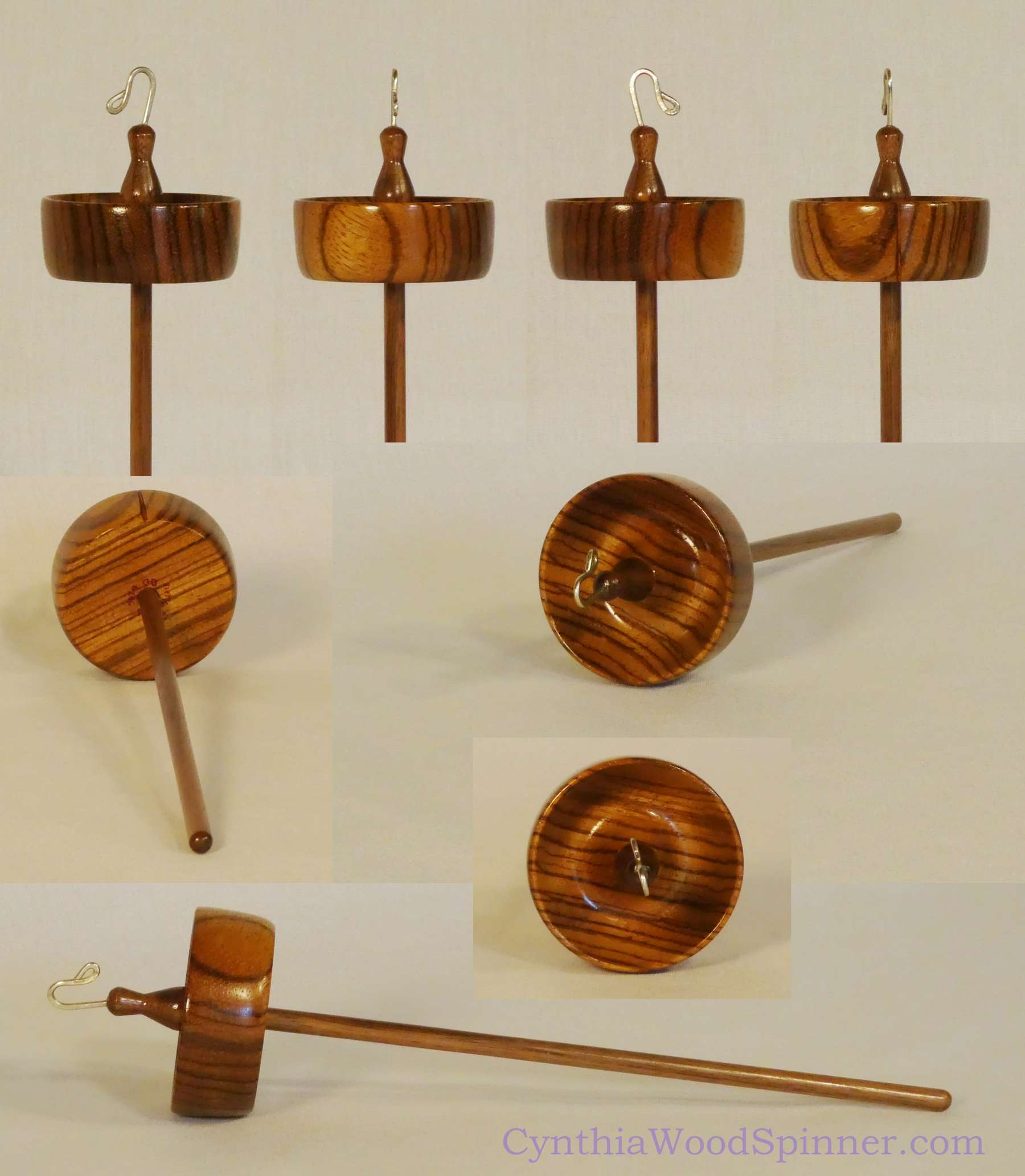 Luxury branch size top whorl drop spindle in Zebrawood and Black Walnut hand made by Cynthia D. Haney