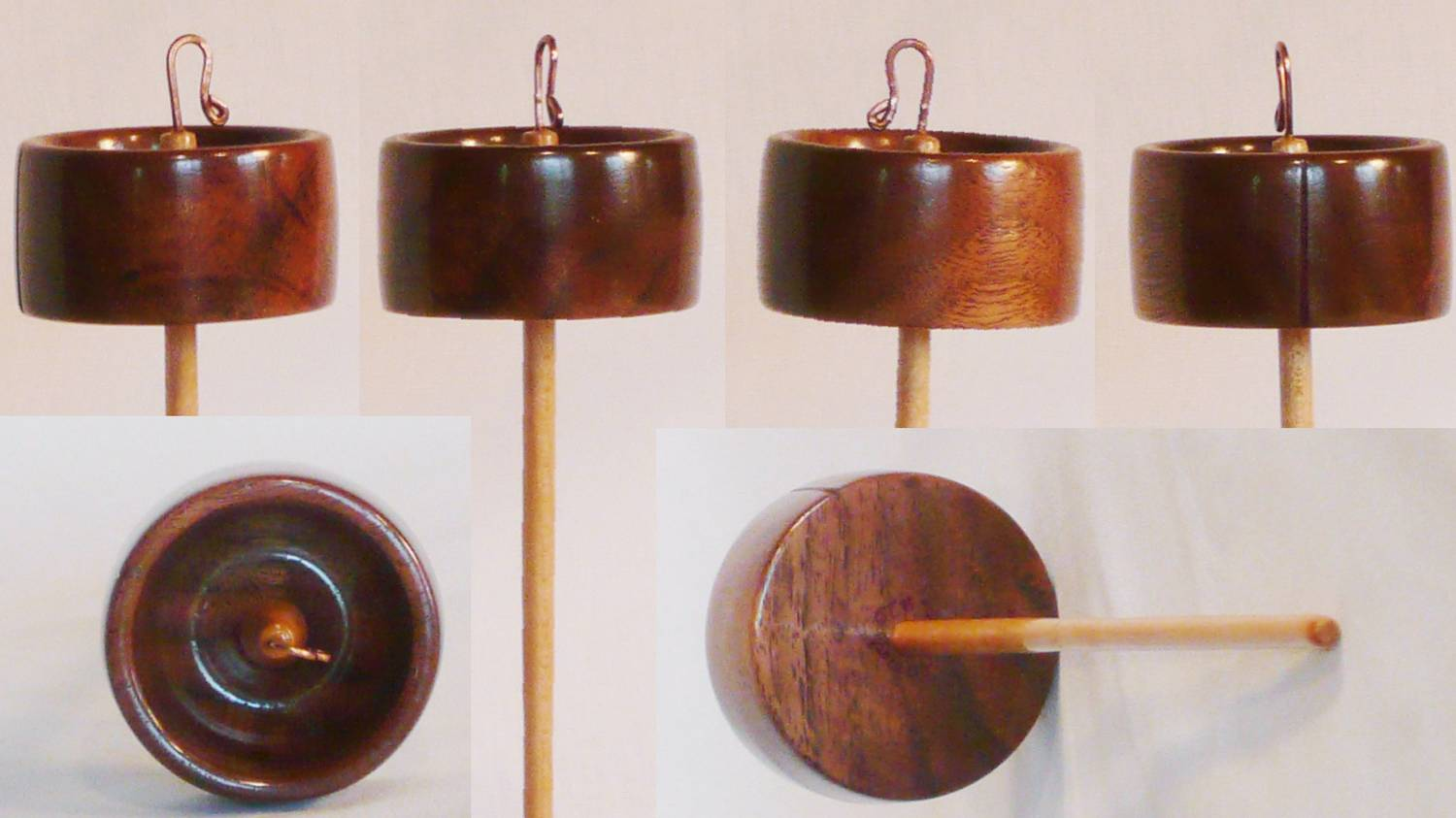 Walnut whorl on Maple shaft top whorl drop spindle hand turned by Cynthia Haney