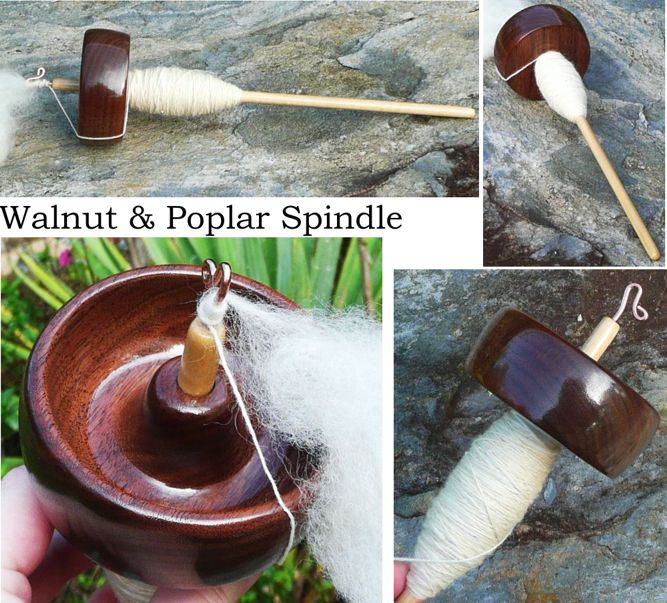 Walnut spindle on poplar shaft, rim weighted top whorl, notchless by Cynthia Haney