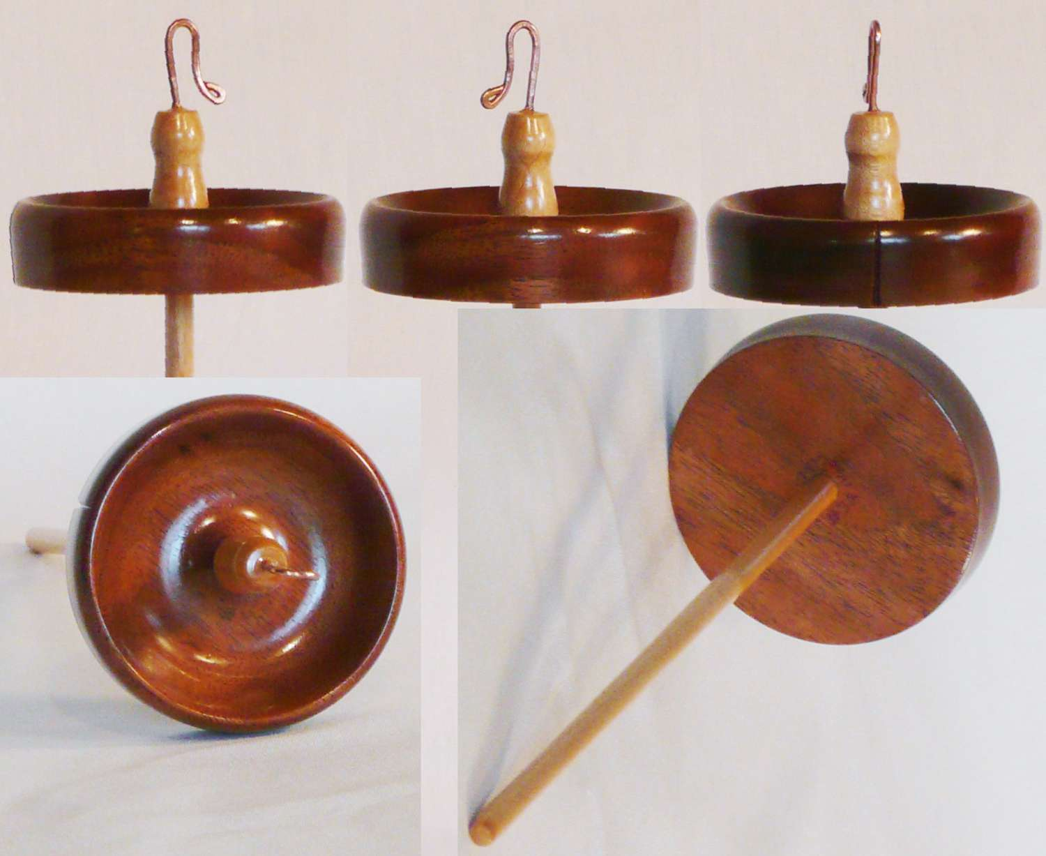 Walnut top whorl on maple shaft hand turned drop spindle by Cynthia Haney
