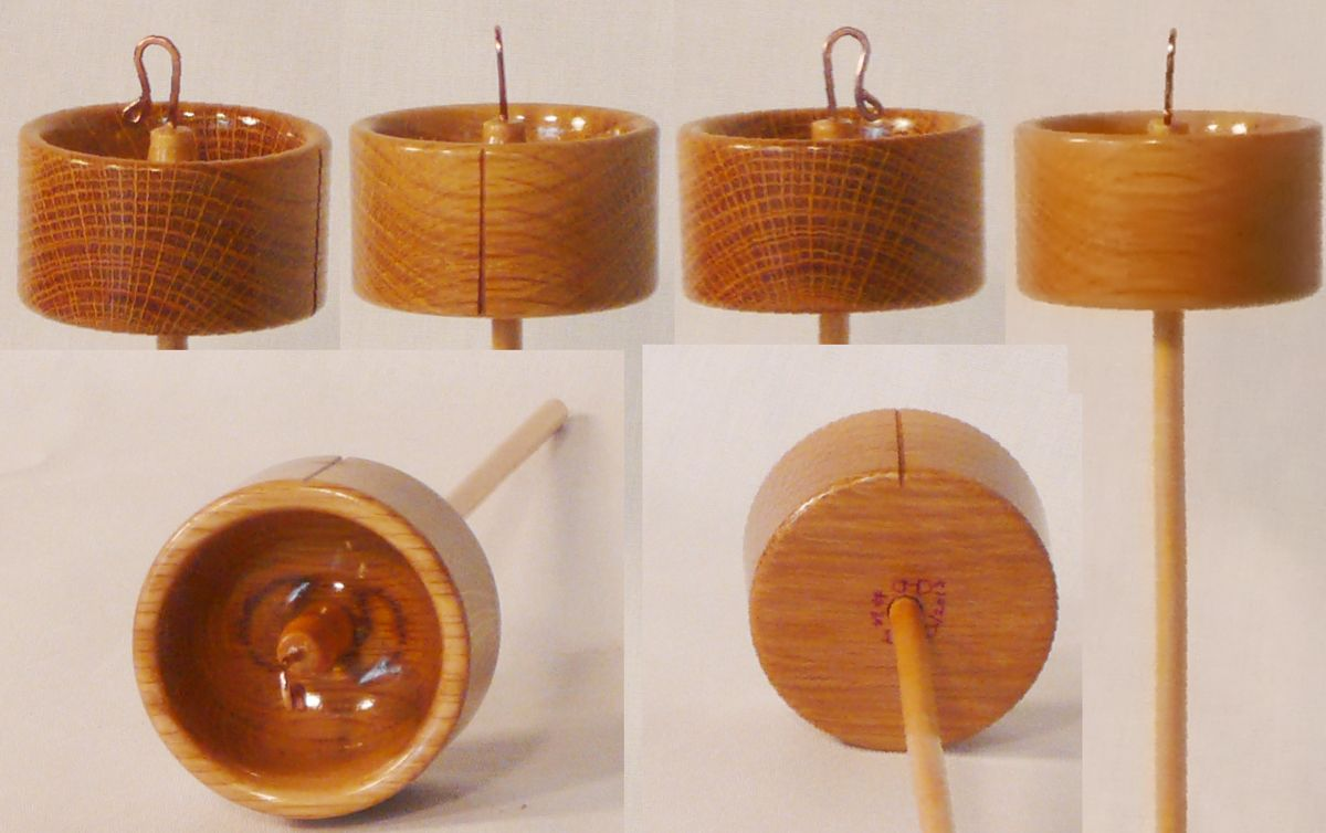 Oak whorl Maple shaft top whorl hand turned drop spindle by Cynthia Haney