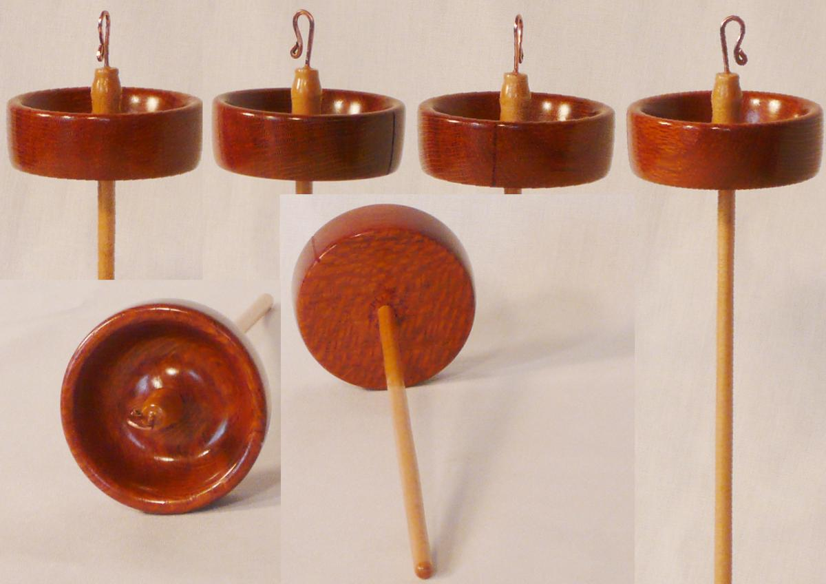 Lacewood whorl and Maple shaft top whorl hand turned drop spindle by Cynthia Haney