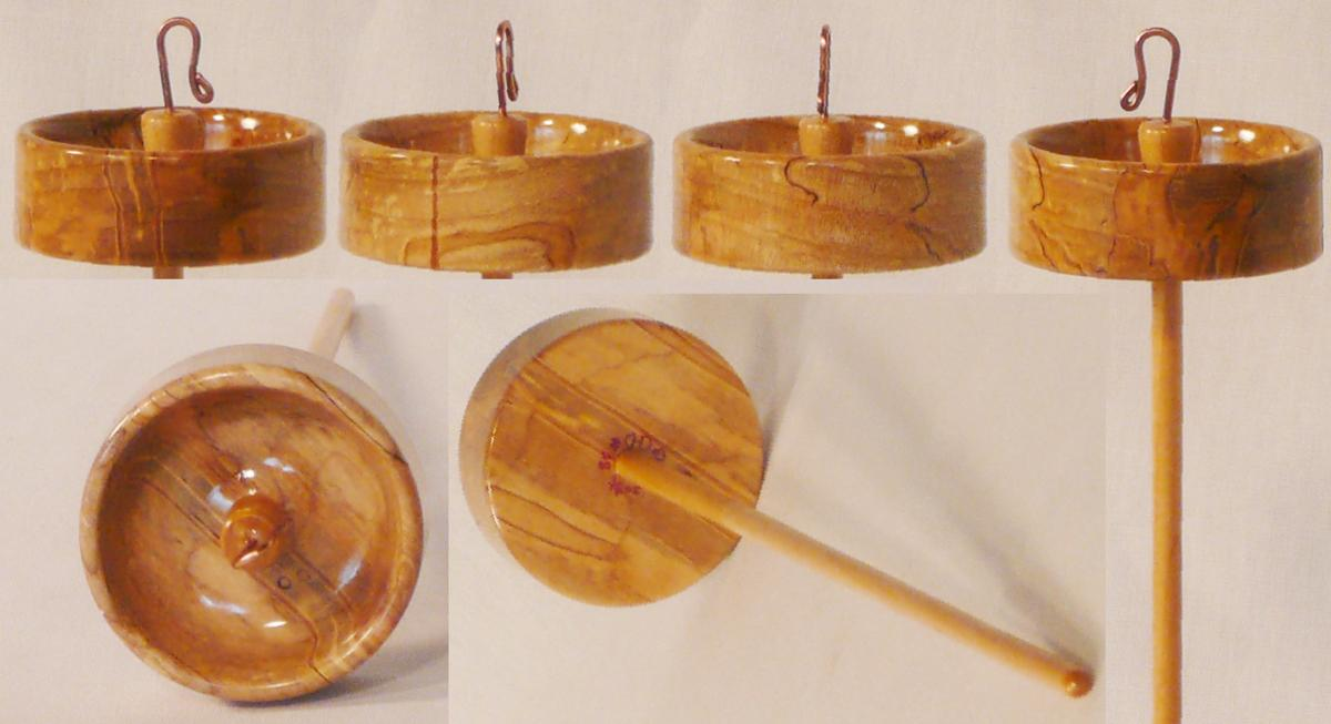 Ambrosia Maple top whorl on Maple shaft hand turned drop spindle by Cynthia Haney