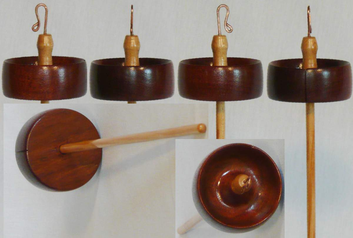 Mahogany whorl on Maple shaft for this hand turned drop spindle by Cynthia Haney