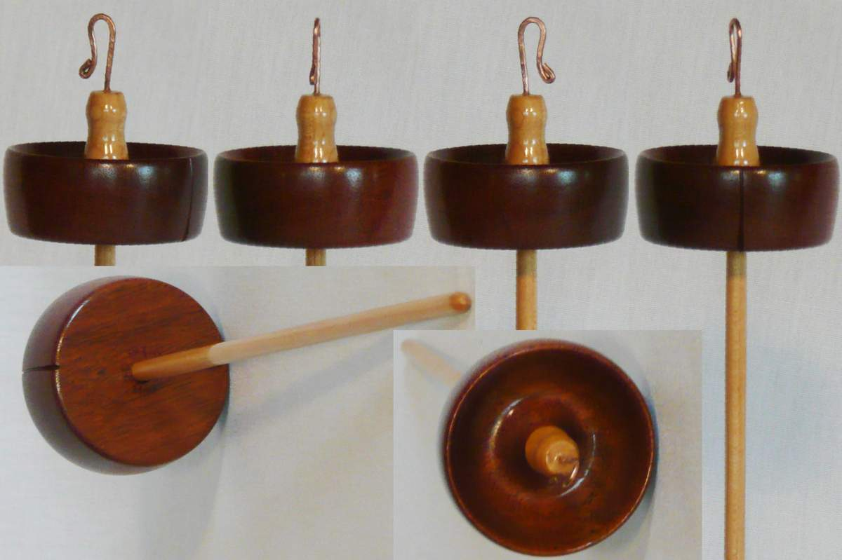 Mahogany whorl and Maple shaft hand turned top whorl drop spindle by Cynthia Haney