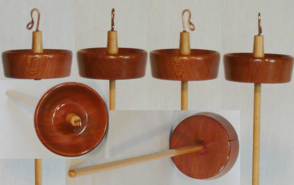 Sycamore whorl on Maple shaft for this hand turned top whorl drop spindle by Cynthia Haney