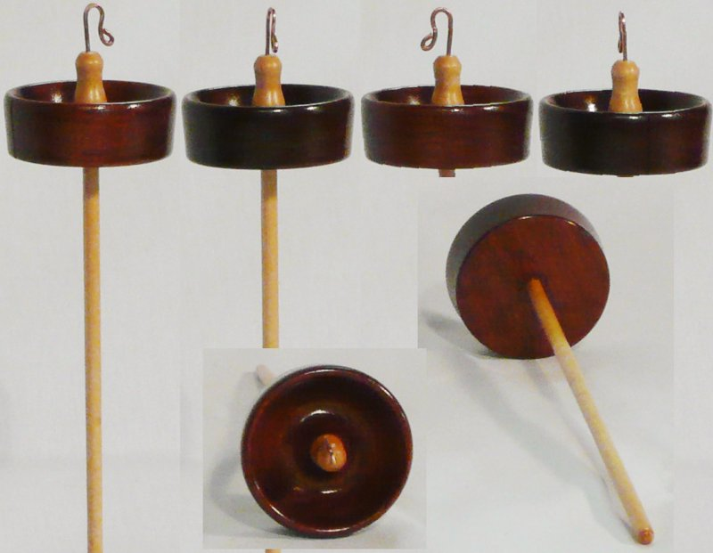 Top whorl drop spindle hand turned in Mahogany and Maple by Cynthia Haney