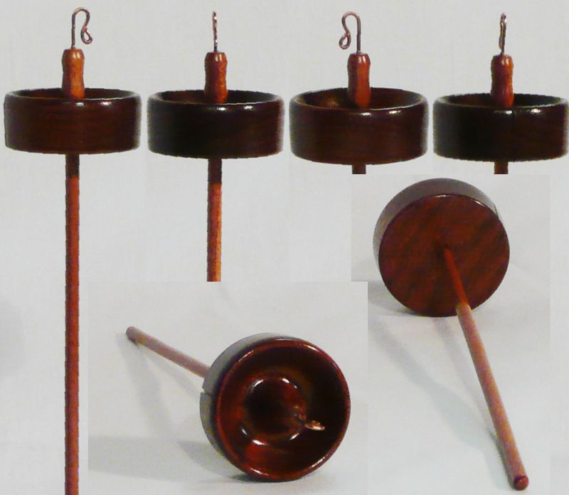 Hand turned drop spindle of mahogany by Cynthia Haney