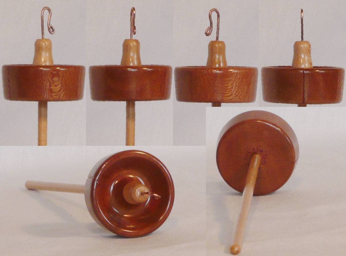Hand turned drop spindle of sycamore on sycamore by Cynthia Haney