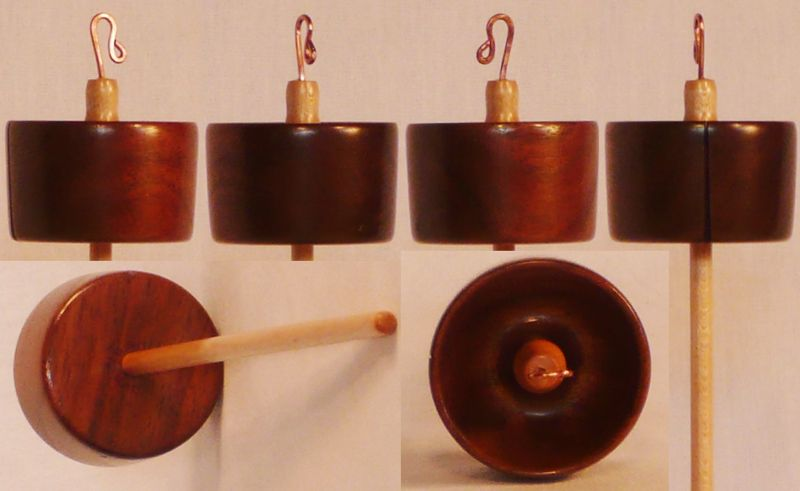 Hand turned top whorl drop spindle of Walnut on Maple by Cynthia Haney.