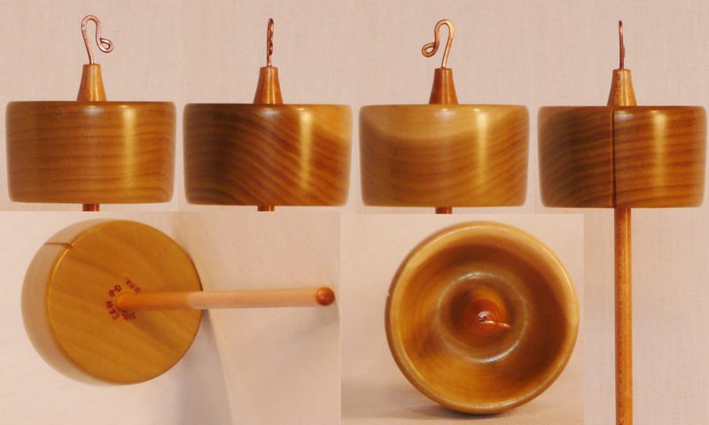 Hand turned top whorl drop spindle by Cynthia Haney of Tulip Poplar and Maple