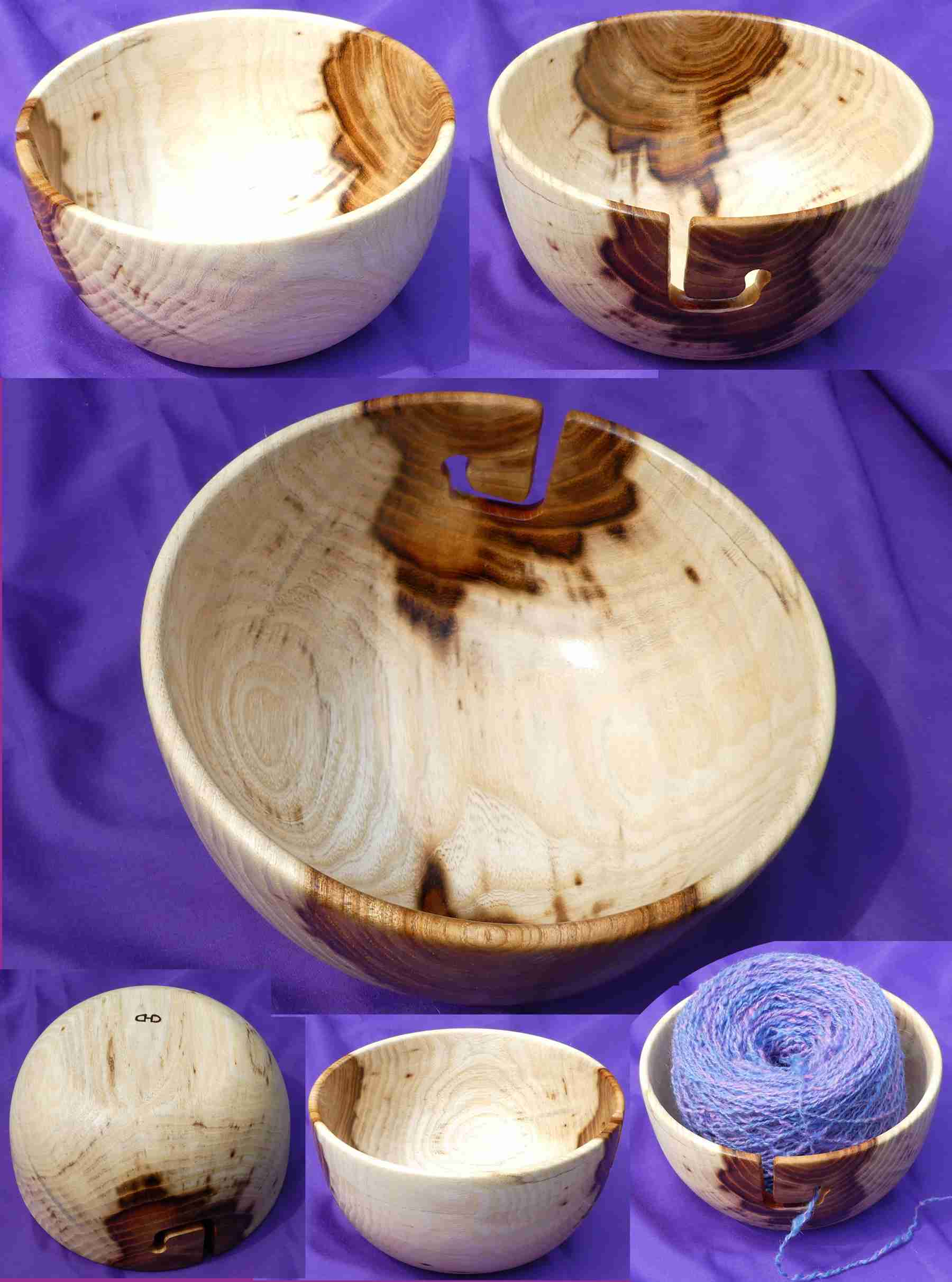 Yarn bowl for holding your cake, skein, or ball of yarn handturned from Ailanthus altissima by Cynthia D. Haney on her wood lathe.